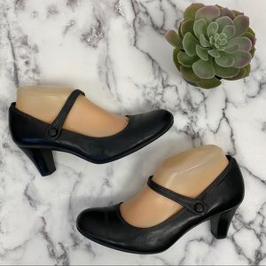 Ecco Black Leather Mary Jane Heels Size 39